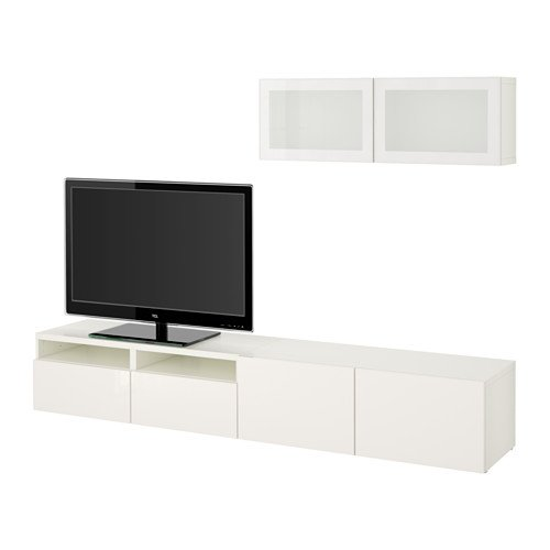 Ikea TV storage combination with soft-closing drawers and glass doors, white, Selsviken high-gloss/white frosted glass 14202.23817.1826