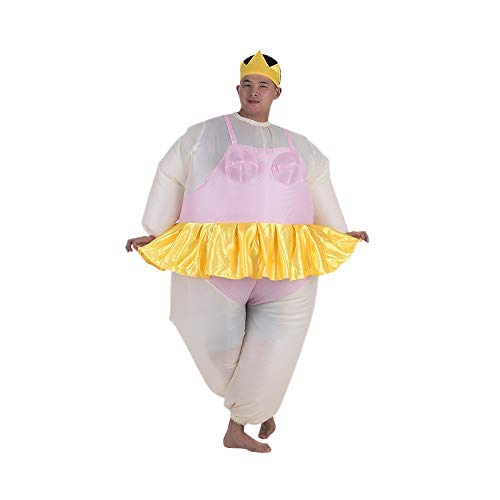 Anself Ballerina Inflatable Costume Fat Suit Blow Up Halloween Party Fancy Jumpsuit Outfit -