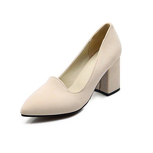 zulaufende Solid On spitz High Frosted Heels Schuhe VogueZone009 Damen beige geschlossene Pull Pumps Ycw8xafwIq