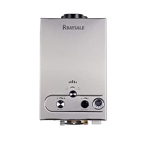 RBAYSALE Calentador de Agua de Gas, Gas Butano para Toda la Casa Bano al Aire Libre Ventilacion Directa sin Tanque 1200W