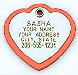 Pet ID Tag - Heart Shaped Plastic Frame Tag - Our custom engraved dog & cat tags are rugged and modern. Available in 3 sizes and many colors.