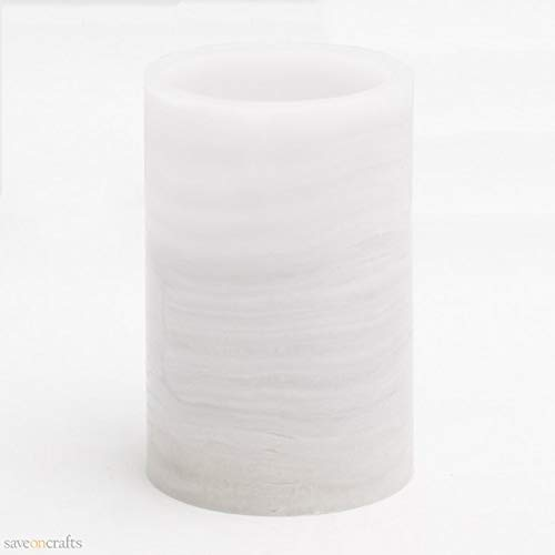 Flameless LED Pillar Candle Marble 4'' x 6'' Set of 12 - Excellent Home Decor - Indoor & Outdoor