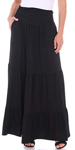 Popana Womens Casual Long Boho Convertible Maxi Skirt with Pockets Made in USA Black XL ()