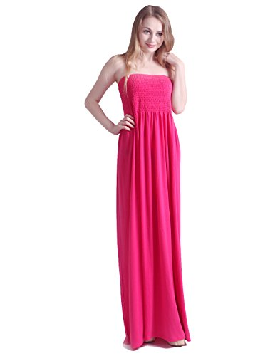 HDE Women's Strapless Maxi Dress Plus Size Tube Top Long Skirt Sundress Cover Up (Small, Hot Pink)