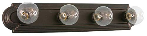- HOMEnhancements- 4-Light Racetrack Vanity Light- Oil Rubbed Bronze Finish- Clear Glass- 5