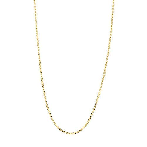 (Solid 14k Yellow Gold Delicate Diamond Cut 0.85mm Cable Chain Necklace,)