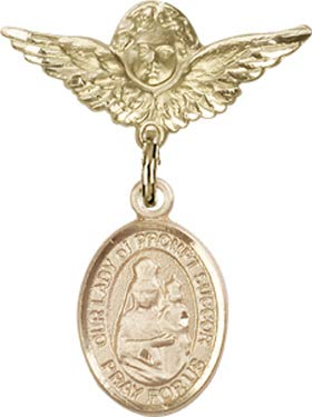 Christening & Baptism Keepsake, 14kt Gold Baby Badge with O/L of Prompt Succor Charm and Angel w/Wings Badge Pin/New Orleans, LA ()