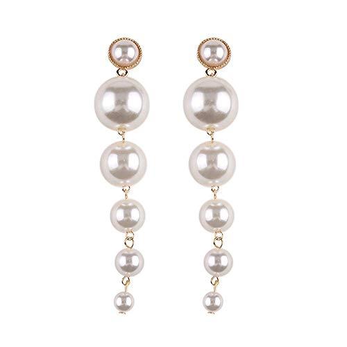 Shining Diva Fashion Women's Stylish Long Gold Plated Drop Earrings (White; 9900er)