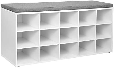 VASAGLE Shoe Bench with Cushion, 15-Cube Storage Bench, Holds up to 440 lb, White ULHS15WT