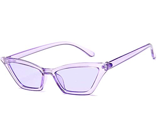 Small Frame Retro Skinny Thin Cat Eye Sunglasses for Women Colorful Mini Narrow Square Cateye Vintage Sunglasses by W&Y YING (purple) -