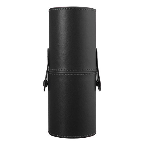 Fashionclubs Leather Professional Cosmetics Brushes/Pen/Pencil Cup Travel Makeup Organizer Holder Case (black)
