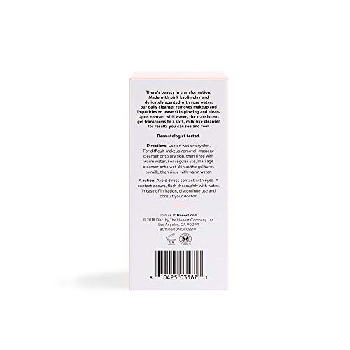 Honest Beauty Magic Gel-to-Milk Cleanser with Pink Kaolin Clay & Rose Water | Makeup Removing Cleanser | Sulfate Free, Paraben Free | 4.0 fl. oz.