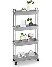 LC&TEAM Wózek kuchenny na kółkach, łazienka, regał wnękowy, wózek łazienkowy, wąski, wózek do serwowania z uchwytami, mały wózek do porządkowania, do biura, uniwersalny wózek szary
