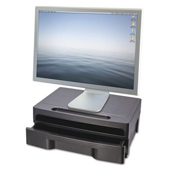 Officemate Monitor Stand with Drawer, 13-1/8'' x 9-7/8'' x 5'', Black