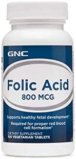 GNC Folic Acid 800 MCG 100 Vegetarian Tablets