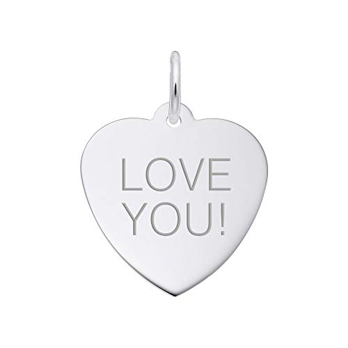 Rembrandt Heart - Custom Engraving (up to 20 characters), Rembrandt Charms, Classic Heart.925 Sterling Silver, Engravable