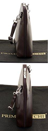 Primo Sacchi? Italian Smooth Leather Small Cross Body Shoulder Bag Handbag. Includes a Branded Storage Bag Dark Brown