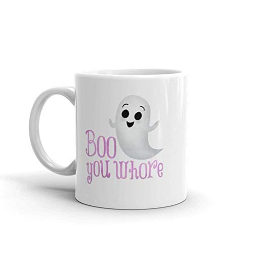 OttoRiven101 - Funny Mug - Boo You Whore - Mean Girls Movie Lover Quote Regina George Glen Coco The Plastics Halloween Pun Ghost Coffee Mugs,11oz Ceramic Coffee Mug/Tea Cup, High Gloss