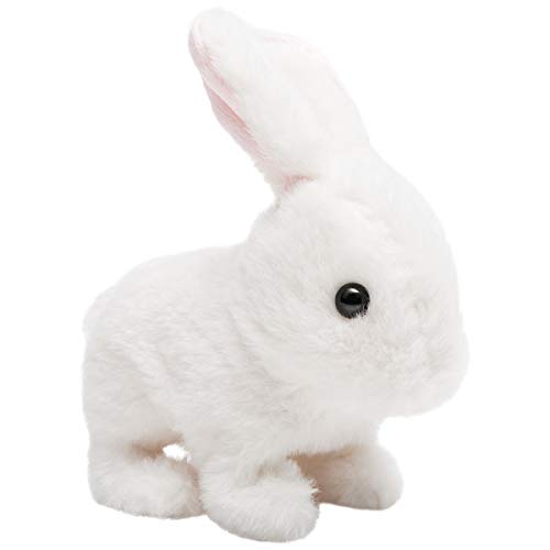 (HollyHOME Plush Rabbit Electronic Interactive Toy Jumping,Wiggle Ears,Mouth Moving Bunny Toy 7 Inches White Gifts for Kids & Pets)