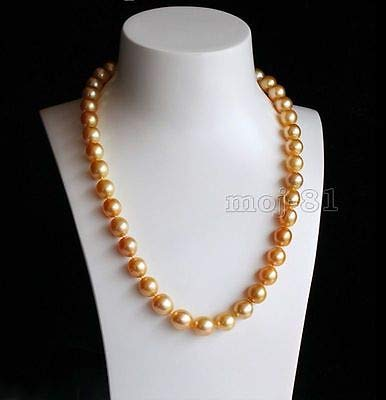 18 Necklace Pearl 10mm Golden - FidgetFidget Fashion Natural 10mm Golden Akoya Cultured Shell Pearl Necklace 18