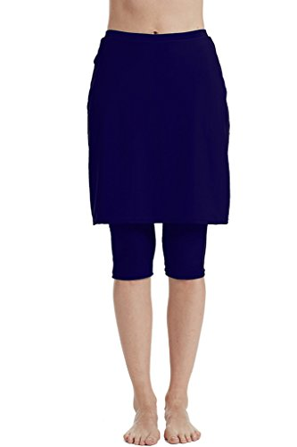 Micosuza Womens Skirted Swim Capris Sun Protective UPF 50+ Swimming Tight with Attached Skirt Sport Leggings -