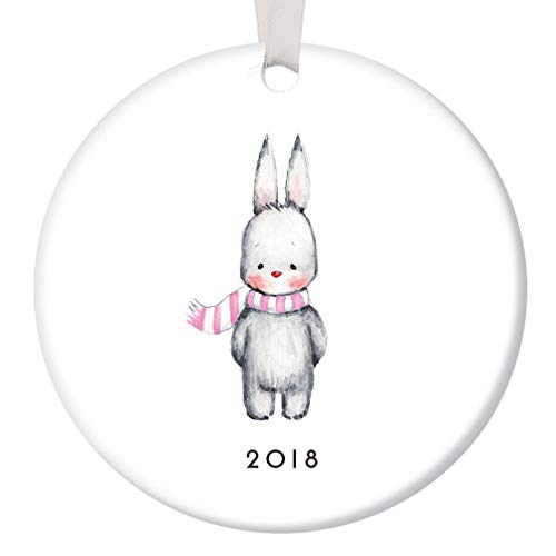 Baby Girl Bunny Christmas Ornament 2018 Adorable Infant Rabbit Ceramic Keepsake Present to Mommy & Daddy Newborn Daughter 1st Holiday with Family 3