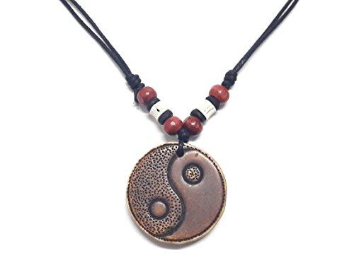 Brown Yin Yang Pendant Necklace Handmade Necklace Adjustable Black Cord