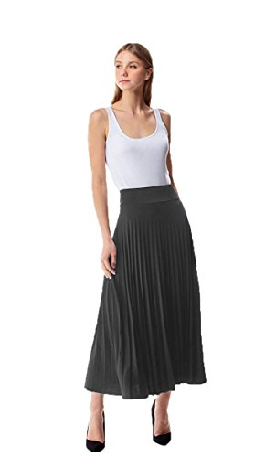 MoDDeals Women's Skirt Pleated Flared Knee Length Long Mini Or Short Midi and Maxi for Office Casual Or Dressy Party (Small, Charcoal Maxi) - Long Skirt Pleats Skirt