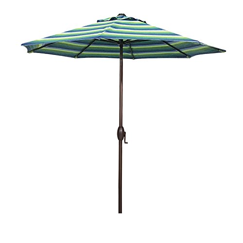 Abba Patio Sunbrella Patio Umbrella 9 Feet Outdoor Market Table Umbrella with Auto Tilt and Crank, Canvas Stripe Seville Seaside