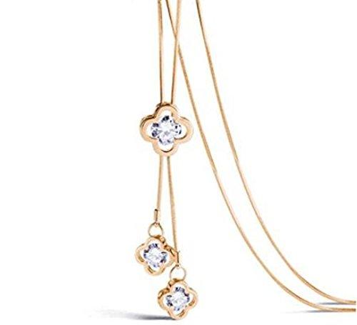 Z-Jeris Women's Fashion Four-Leaf Clover Pendant Long Chain Necklace (Gold Clover Pendant)