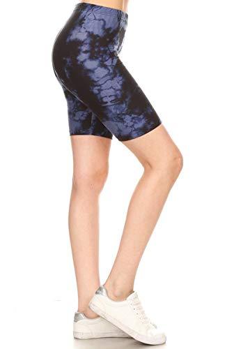 Leggings Depot LBK-R954-S Velvet Tie Dye Printed Biker Shorts, Small (Tie Dye Velvet)