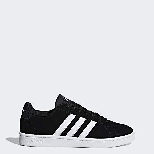 adidas Men's Grand Court Running Shoe, Black White, 10 M US