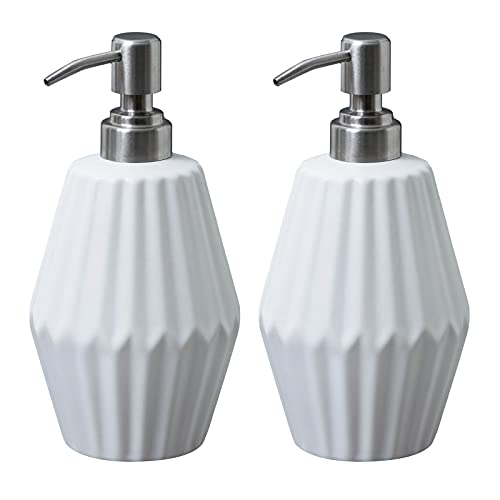 PowerDoF Soap Dispenser 2 Pack,16.2 Oz White Ceramic Soap Dispenser with Rust Proof Stainless Steel Pump,Dish Soap Dispenser for Kitchen and Bathroom