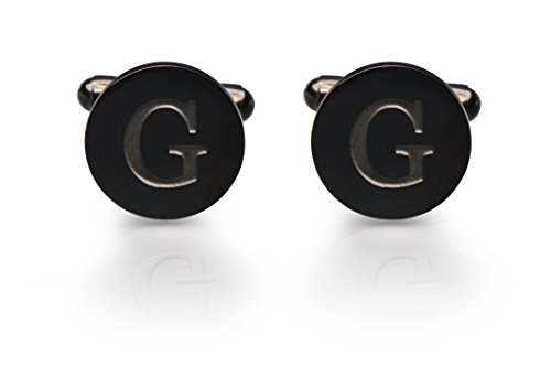 (Men's Cobalt Black Engraved Initial Cufflinks with Gift Box- Premium Quality Personalized Alphabet Letter (G))