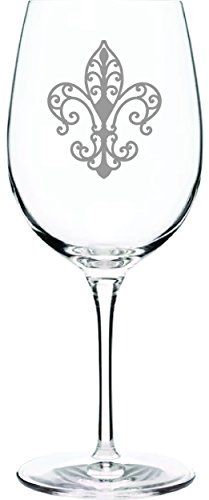 IE Laserware Classic Fleur De Lis beautifully etched on this 16 oz tall elegant long stemmed wineglass