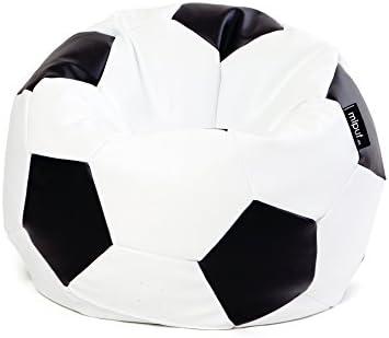 MiPuf - Puff Futbol Original - 90cm diámetro - Tejido Polipiel Alta Resistencia - Doble Cremallera - Relleno Incluido - Blanco y Negro - 4 años de Garantía: Amazon.es: Hogar