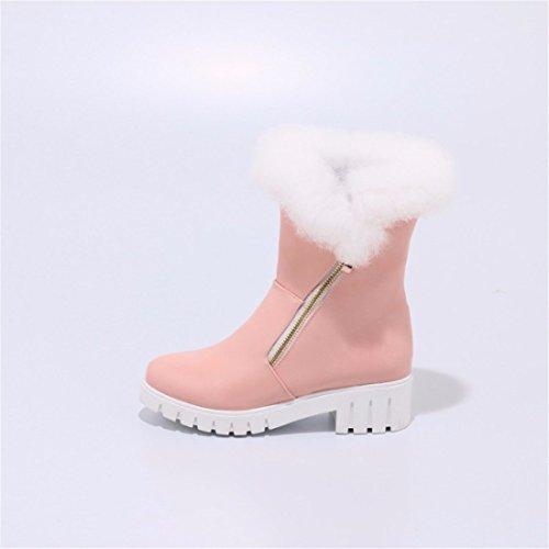 Brown Martin lady boots Fan Han tube heel with boots Pu big coarse winter heel xZOwqSPwH
