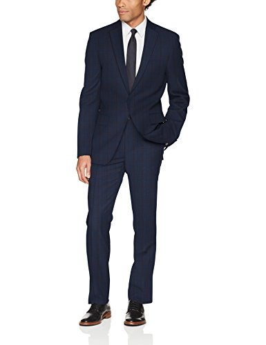 DKNY Men's Dominic Slim Fit Single Breast 2 Button Suit, Navy, 44 Regular