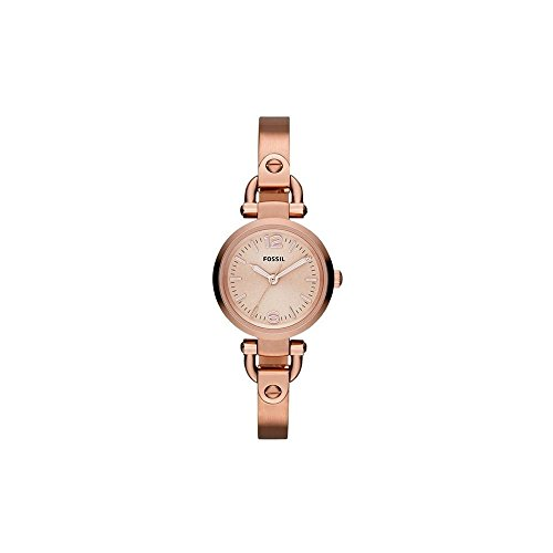 Fossil Women's Georgia Mini Quartz Stainless Steel Dress Watch, Color: Rose Gold (Model: ()