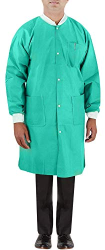 Large Green Lab Coats, knit cuffs, fluid resistant, disposable, 3 pockets, 5/pk