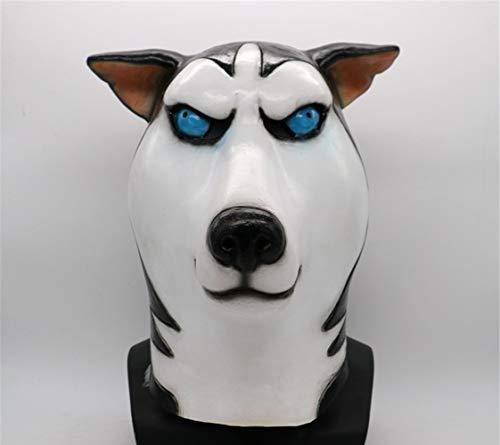 Siberian Husky Dog Latex Animal Head Mask Novelty Costume Rubber Masks Black/White