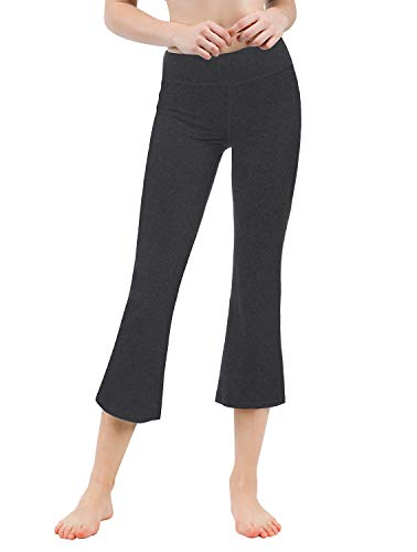 TaiBid Women's Yoga Bootleg Pants Workout Capris Inner Pocket, Charcoal - -