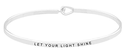 Inspirational Bracelet - ''LET YOUR LIGHT SHINE'' - Positive Message Mantra Bible Verse Cuff Bangle - Motivational Jewelry Gifts for Women and Teen Girls (Silver) by GLAM (Image #3)