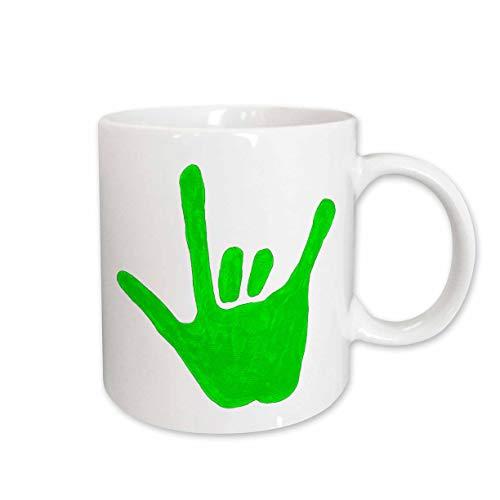 (3dRose Love Hand Sign Language in Green Ceramic Mug, 15-Ounce)