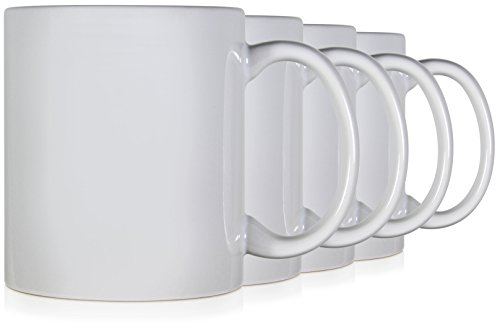 Serami 11oz Classic White Coffee Mugs. Large Handle and Ceramic Construction, Set of 4