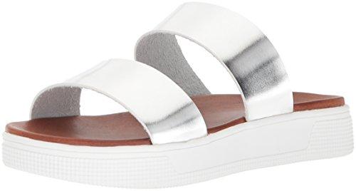 MIA Women's Saige Flat Sandal, Black Silver
