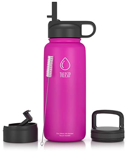 (32oz Stainless Steel Water Bottle, Extra Three Lids - Straw, Flip and Carabiner Caps, Double Walled & Vacuum Insulated, BPA Free, Powder Coated)