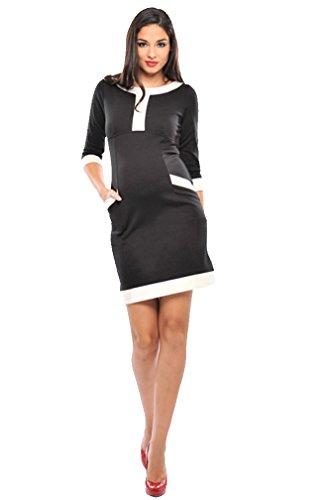 Olian Maternity Dresses - Olian Caroline 3/4 Sleeve Color Block Maternity Dress - Black/Ivory - Large