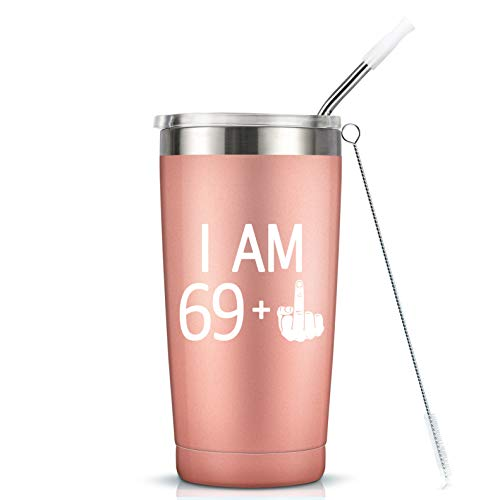 69 + One Middle Finger Mug Tumbler - 70th Birthday Gifts For Women Ladies Mom Grandma Sister Best Friend Insulated Stainless Steel Tumbler Cup with Lid - Funny Turning 70 Bday Present