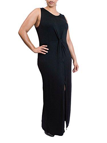 Womens Fashion Casual Chiffon Long Slip Maxi Dress (Black) - 8